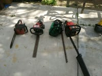two red chainsaws and two gas hedge trimmers Fontana, 92335