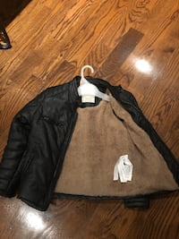 Boys' faux leather leather winter jacket