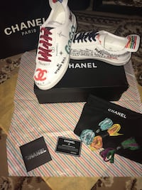 All White Canvas Graffiti Chanel Pharrell Flats Mount Rainier, 20712