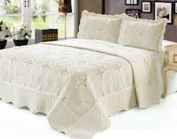 Quilt Queen King Size 3 pc Embroidered Bed set / Bedspread / 2 Pillow Sham (cream) Markham