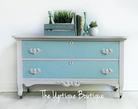Antique Victorian wood chest of drawers bench low dresser  Oro-Medonte, L0L