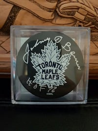 Johnny Bower autographed Leafs puck - COA  Cambridge, N3H 3T7