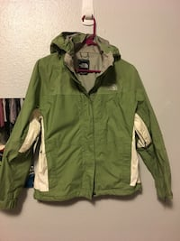 Green zip-up North Face Jacket with hood Mount Vernon, 98273