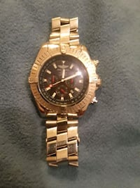 round gold-colored chronograph watch with link bracelet Chesnee, 29323