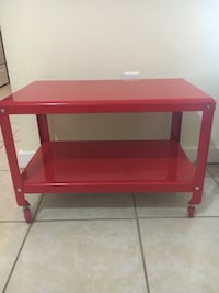 red and white wooden table