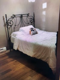 Double bed - wrought iron frame & box spring