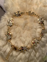 "14k Gold Plated Bracelet With Elephants 7"" Nashville"