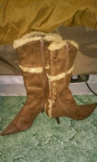 pair of brown suede heeled boots Randleman, 27317