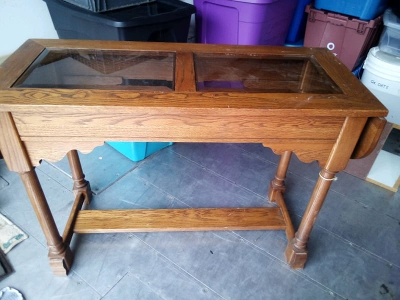 Twin drop leaf solid oak mail table. 1