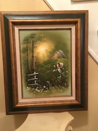 brown framed painting of house in front of grasses Vancouver, 98683