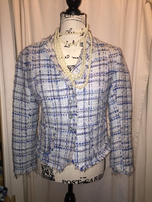 593ce51141d4 Used Blue and white Chanel inspired blazer for sale in Scottsville - letgo