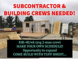 SubContractor BUILDERS NEEDED - NH, ME and MA!