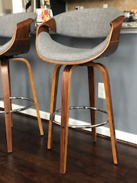 brown wooden framed gray padded Bar Stool Ashburn, 20148