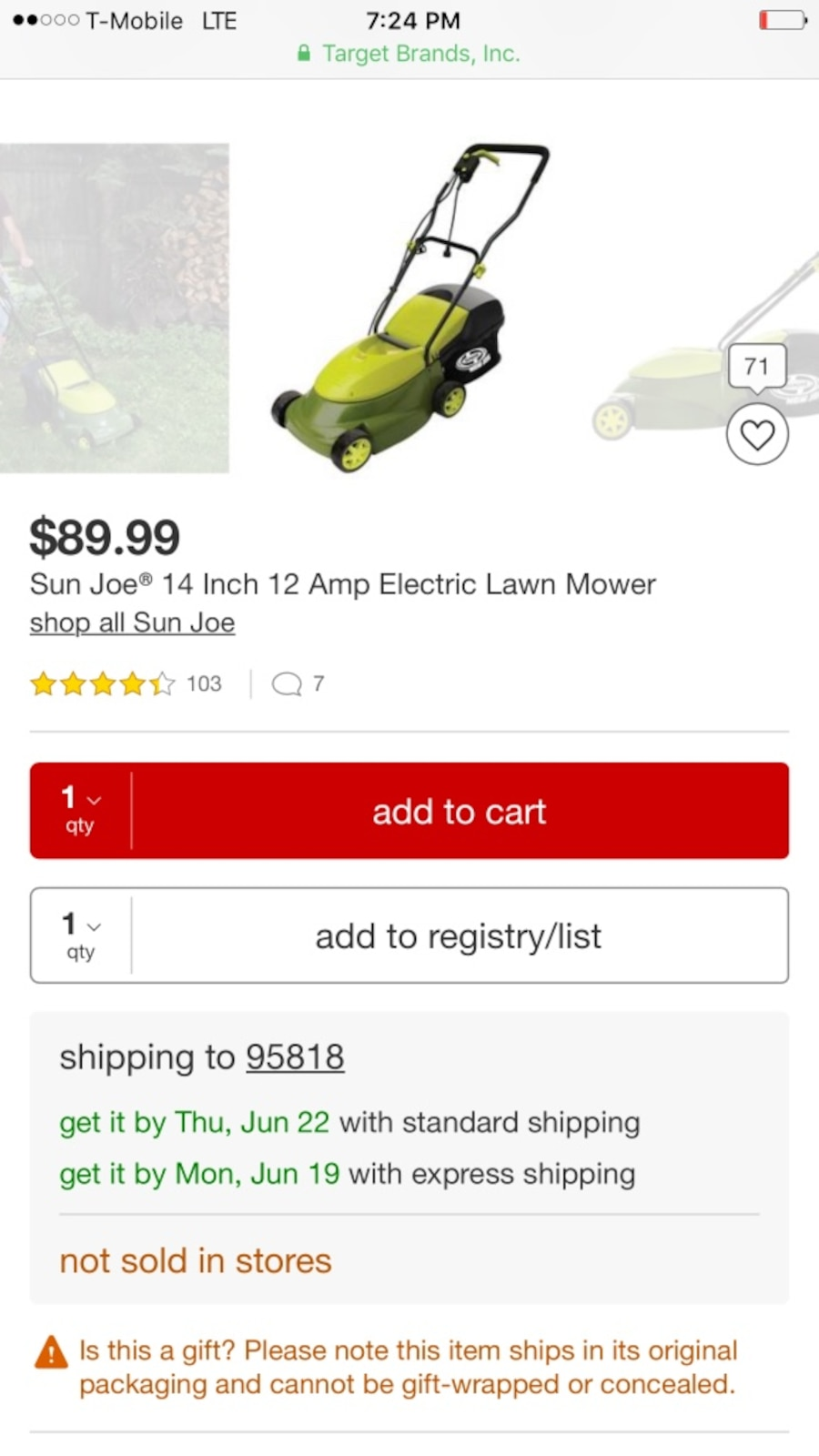 Yellow and black push lawn mower - Allendale