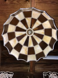 """Vintage Stained Glass Gold and Cream Light Fixture (15 1/2"""") Royal Oak, 48067"""