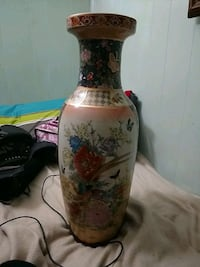 white and red floral ceramic vase Anderson, 46016