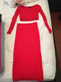 red scoop neck long sleeve crop top and red maxi skirt Vancouver, V6B