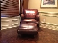 Leather chair with foot stool Markham