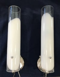 5 white and clear glass wall sconce lights