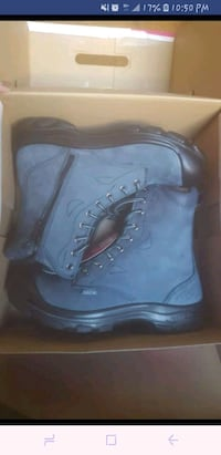 blue-and-black leather side-zip boots with box scr Calgary, T3J 2K5