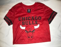 NBA Chicago Bulls Jersey Crop Top - Ladies Size Sm
