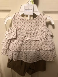 New w/tags Carters Baby Girl Sz 3 Months Short Set, Brown/White Baltimore, 21236