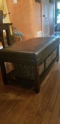 Brown faux leather ottoman / coffee table Hamilton, L0R