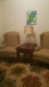 Set of Wing back chairs and end table all 3 for 75 Charlotte, 28214