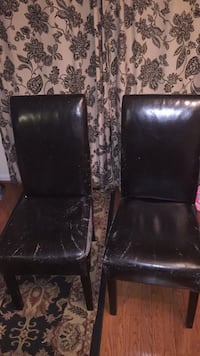 two black leather padded chairs Sterling, 20166