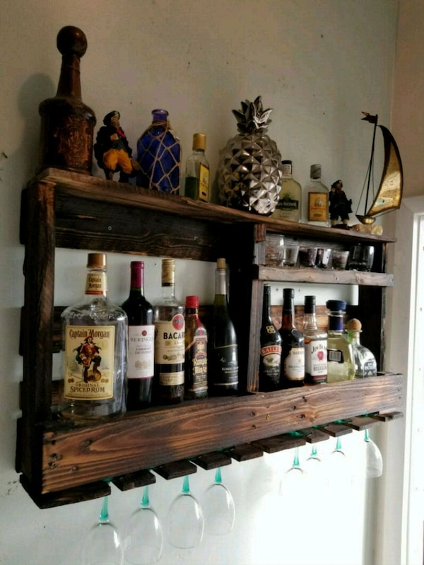 Used Rustic Wood Wall Mounted Wine Rack And Bar 22x40 For Sale In