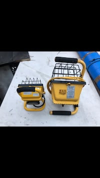 Yellow and black corded work lights