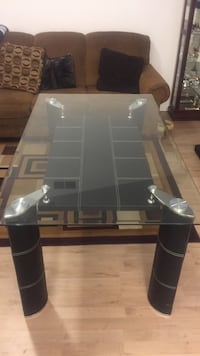 Rectangular glass top table with black wooden base 2343 mi