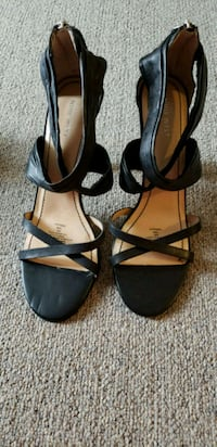 pair of black leather open-toe ankle strap heels Richmond Hill, L4S