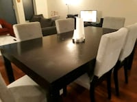 rectangular black wooden table with six chairs dining set Mont-Royal, H3S 1A3