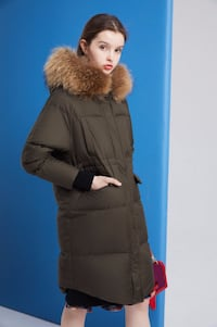 Dezoee Fashion: Navy Green Women Winter Down Coat TORONTO