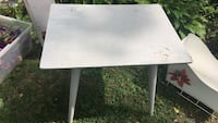 rectangular white wooden table with gray metal base Montréal, H2E 2L1