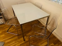 Glass table plus 4 stylish chairs 185*85 London, SE16 7HS