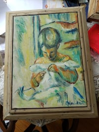 Girl in a white dress.  Hand-painted from 1963 Reisterstown