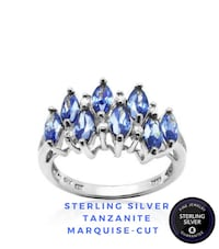 Sterling Silver Tanzanite Marquise-cut Crown Ring. Brossard, J4X 2X4