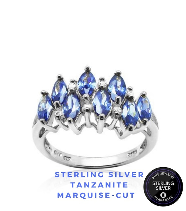Sterling Silver Tanzanite Marquise-cut Crown Ring.