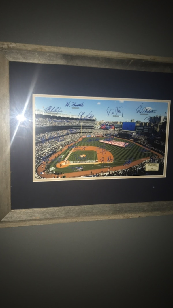 authenic yankee stadium  with autograph with frame