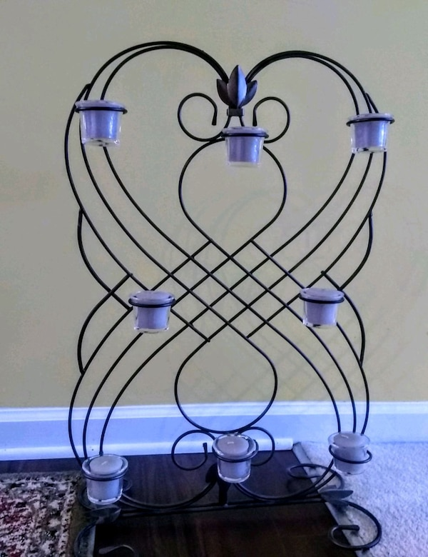 Oil rubbed metal candle holder