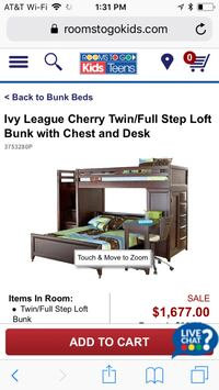 Rooms To Go Bunk Bed with like new Mattresses , protective boards, detachable desk etc... Paradise, 76073