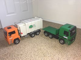 2 Bruder Toy Trucks - Recycle Trash Truck & FlatBed