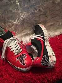 pair of red-and-white Nike basketball shoes Covington, 30016