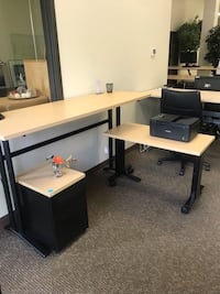 Maple standing height office desk
