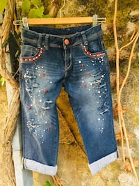 jeans denim blu denim distressed Massarosa, 55054