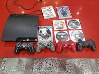 Sony PS3 Slim and four DualShock 3 and game case l Surrey, V3W
