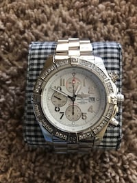 round silver-colored chronograph watch with link bracelet Falls Church