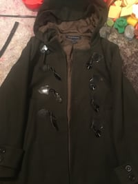 Green French Connection Toggle Coat w/ Hood New York